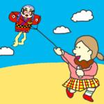 凧あげする女の子のイラスト