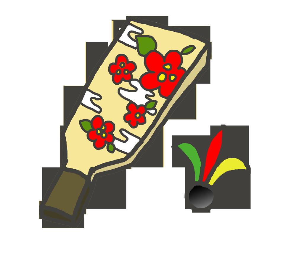 梅模様の羽子板のイラスト