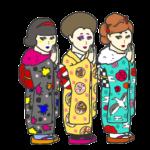 着物で初詣する三姉妹のイラスト