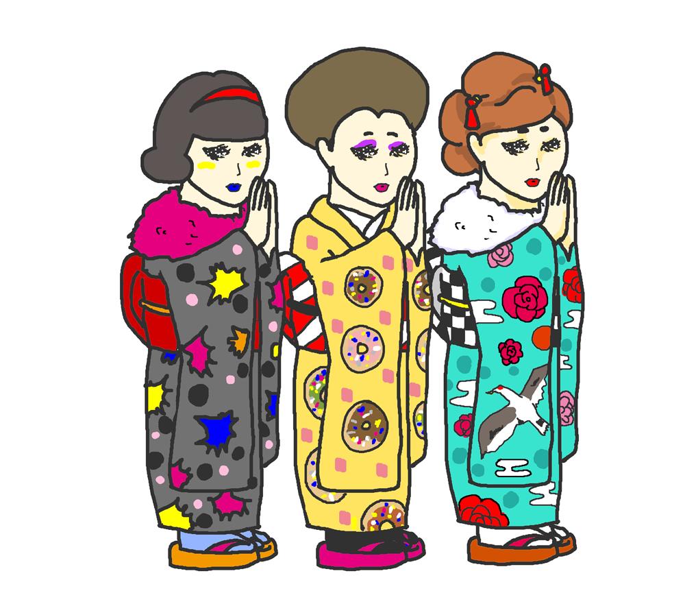 お正月に初詣にいく女の子のイラスト イラストの里