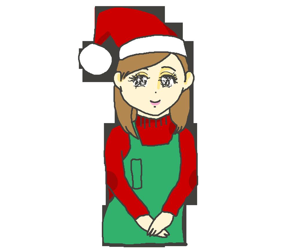 クリスマスにアルバイトしている女の子