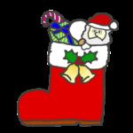 クリスマスのブーツに入ったお菓子のイラスト