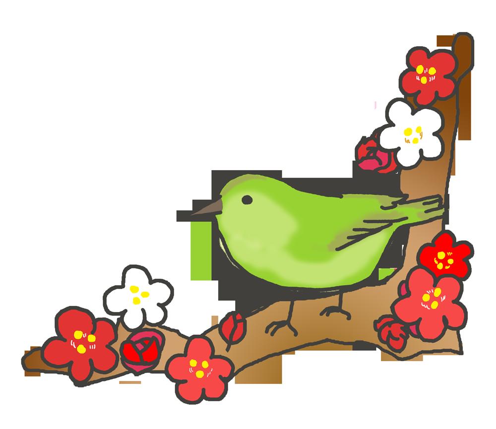 梅とウグイスのイラスト