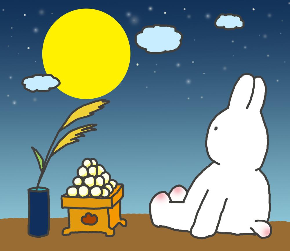 お月見するうさぎのイラスト