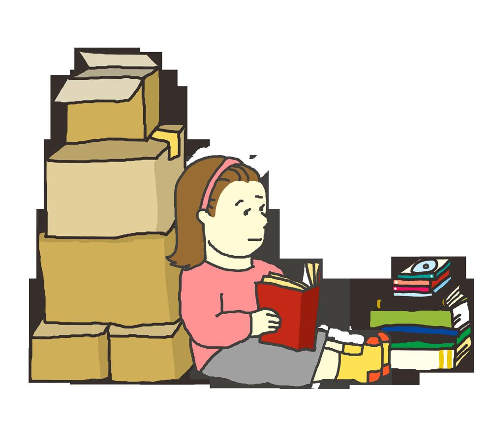 荷造り中に思い出にふけるイラスト(女性)