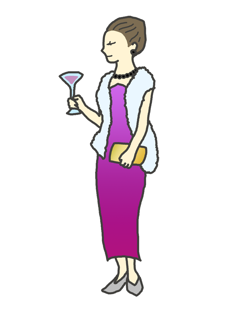 紫のドレスを着た女性