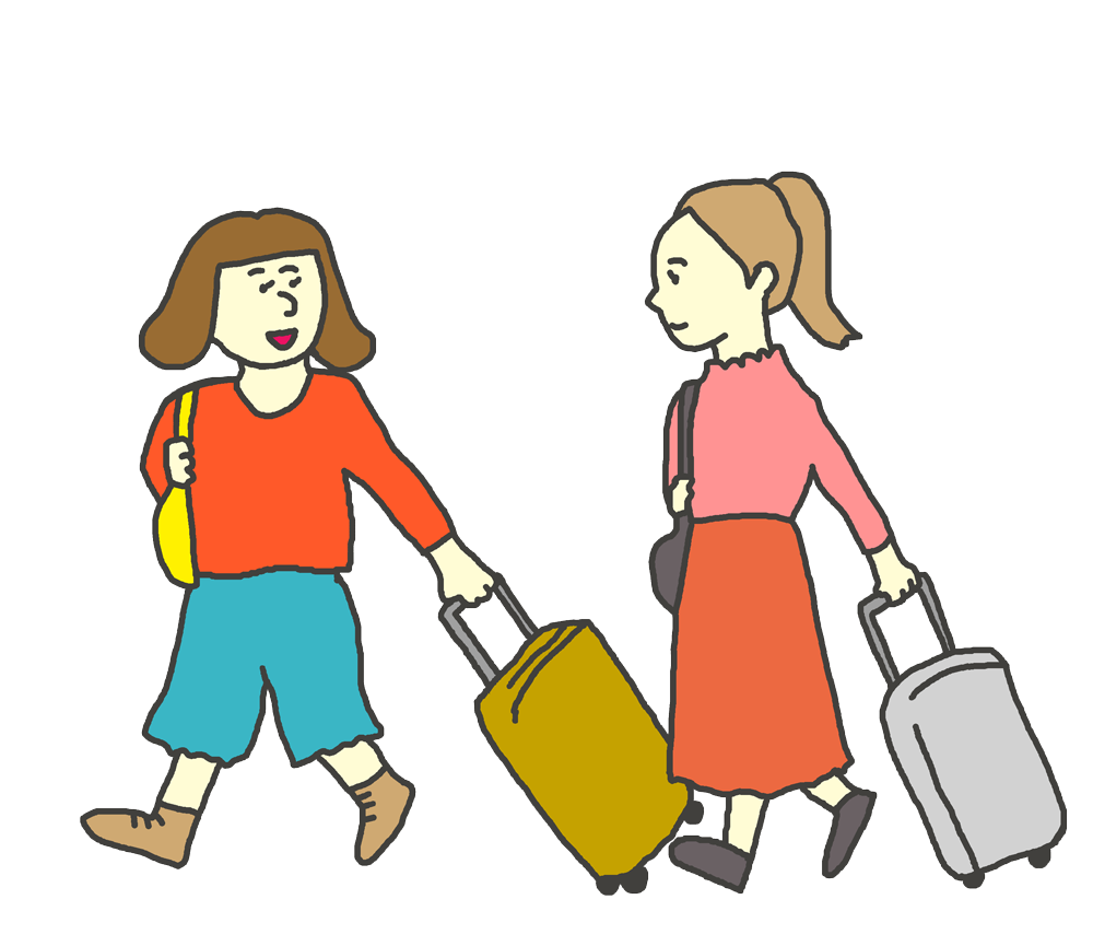 旅行する女性のイラスト