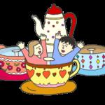 遊園地のコーヒーカップで遊ぶイラスト
