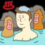温泉につかる男性のイラスト