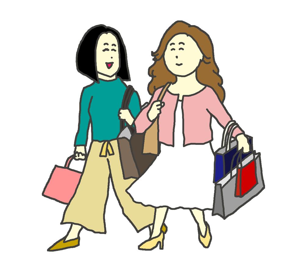 友達とショッピングをする女性のイラスト