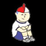 紅白帽をウルトラマンのようにかぶる男の子のイラスト