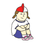 紅白帽をウルトラマンのようにかぶる女の子のイラスト