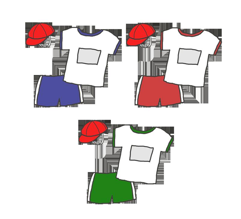 色々な色の体操着のイラスト