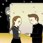 第二ボタンを渡すシーンを物陰から見つめる女子のイラスト