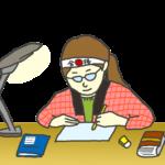 試験勉強をする女性のイラスト