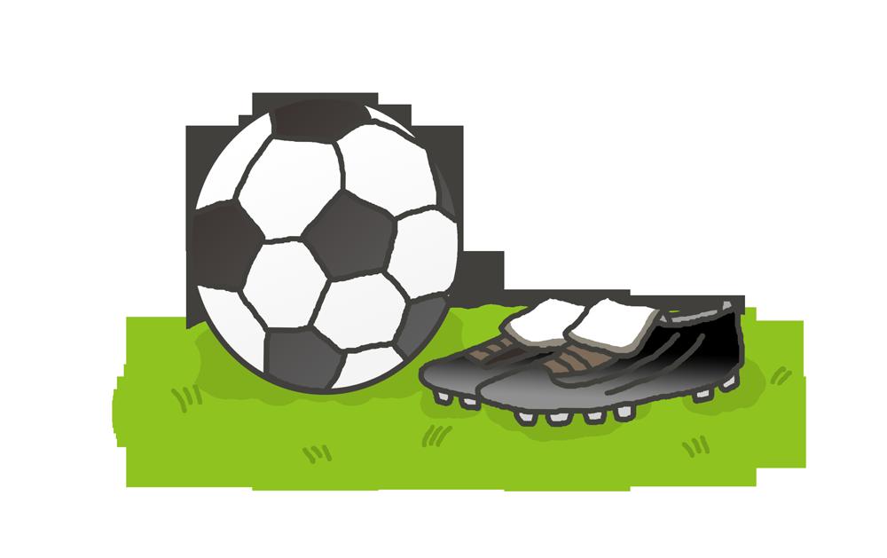 サッカーボールとスパイクのイラスト