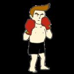 ボクシングの構えをとるボクサーのイラスト(全身)