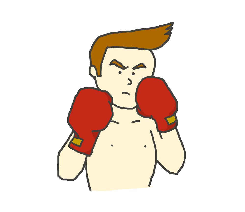 ボクシングの構えをとるボクサーのイラスト(バストアップ)