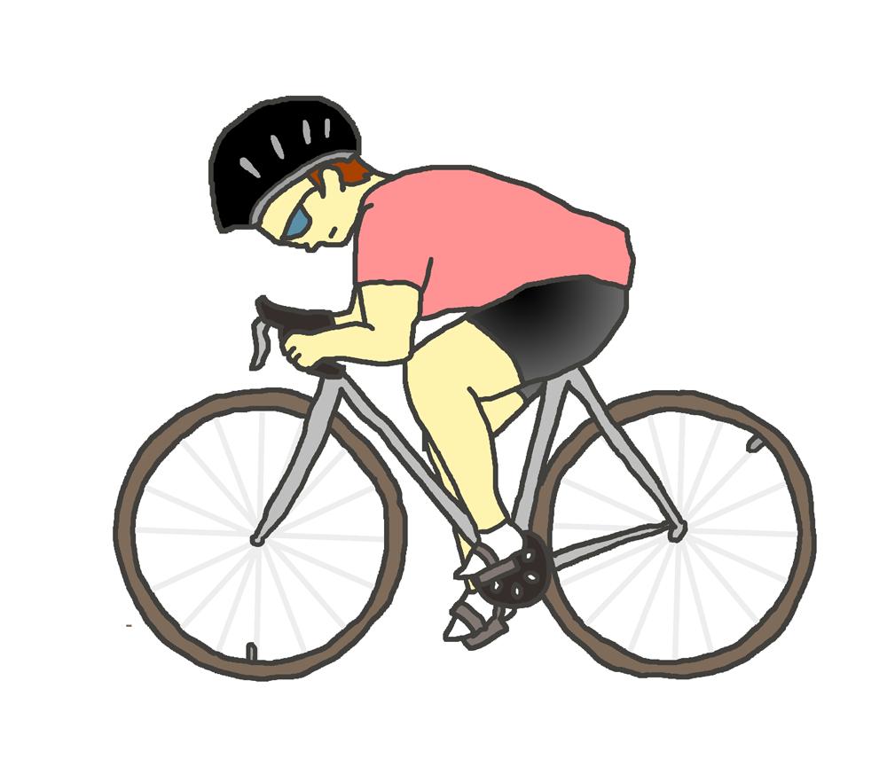 スポーツ自転車に乗る人(赤)
