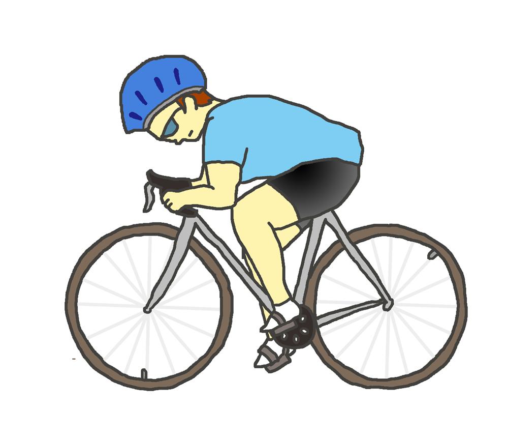 スポーツ自転車に乗る人(青)
