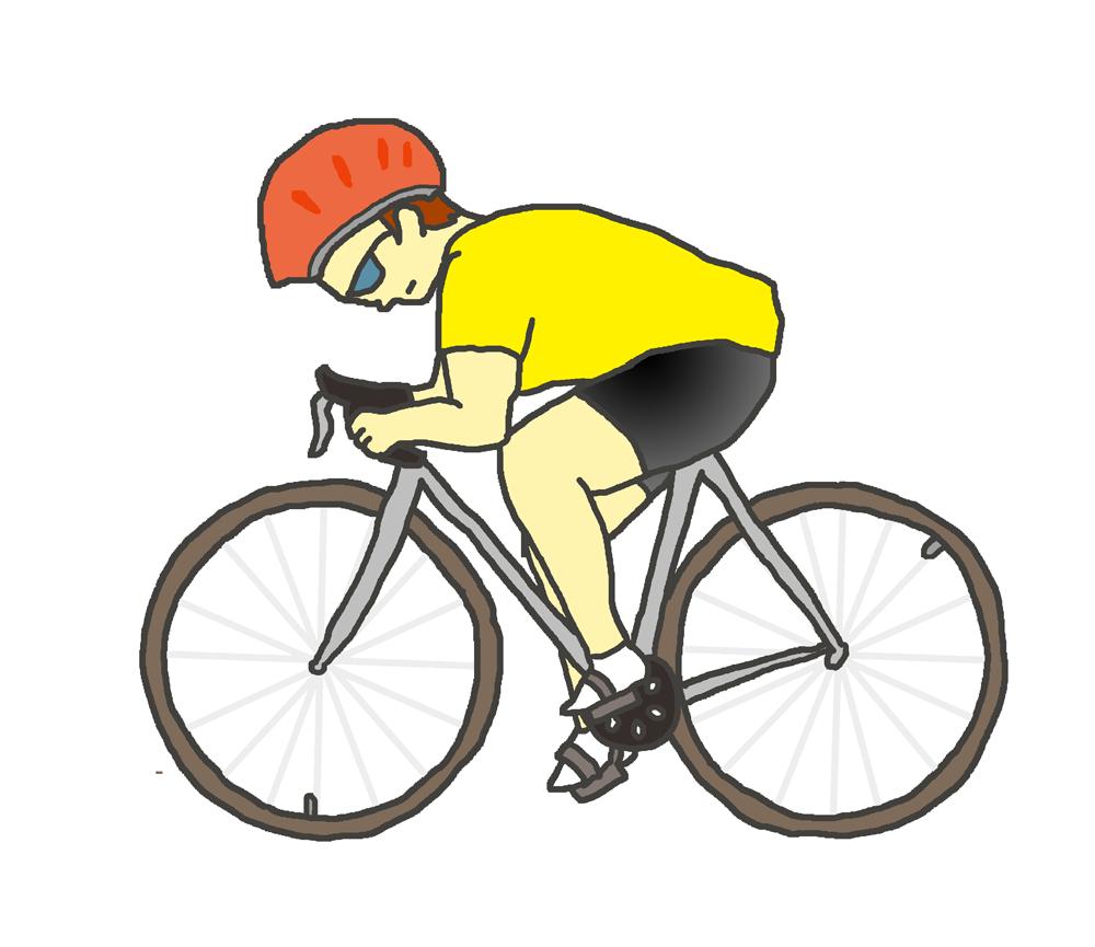 スポーツ自転車に乗る人(黄色)