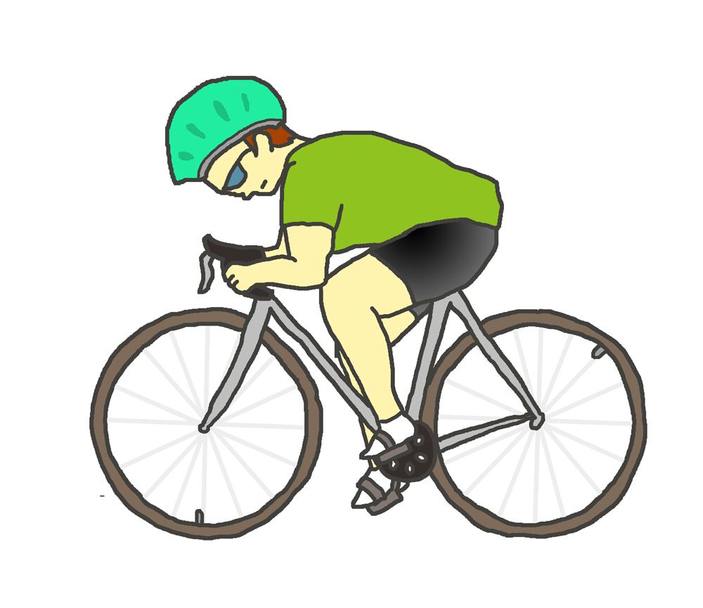 スポーツ自転車に乗る人(緑)