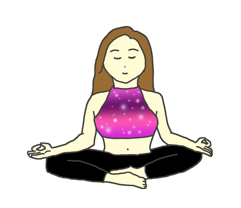 ヨガで瞑想をする女性のイラスト
