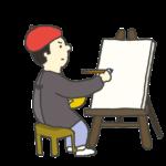 絵画を描く男性のイラスト