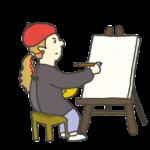 絵画を描く女性のイラスト