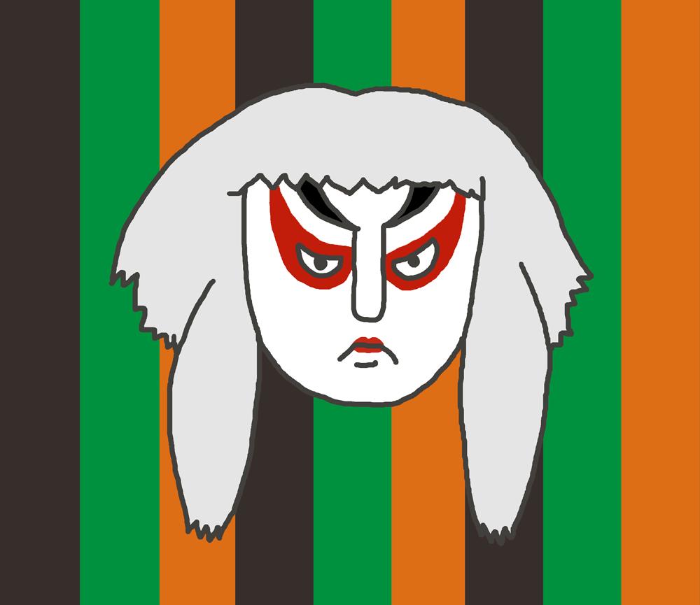 歌舞伎のイラスト(白)