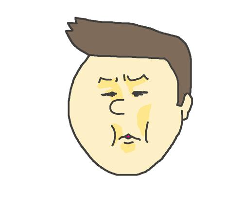 嫌気の表情の男性