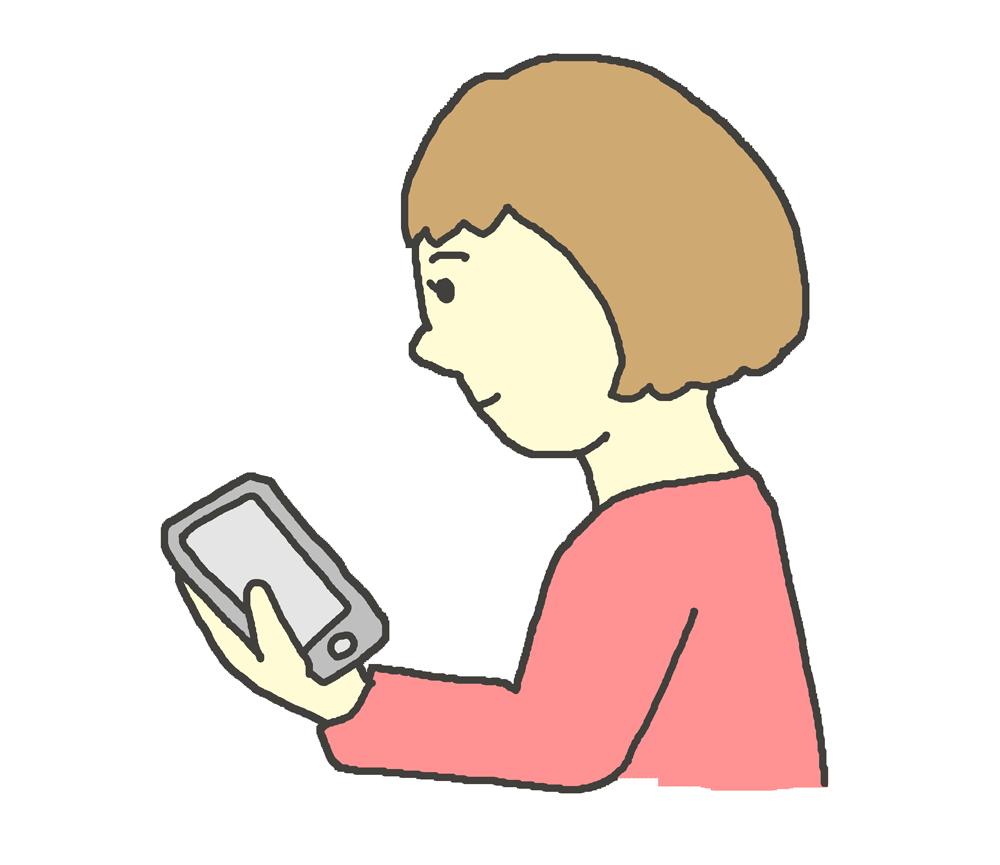 スマホを操作する女性のイラスト