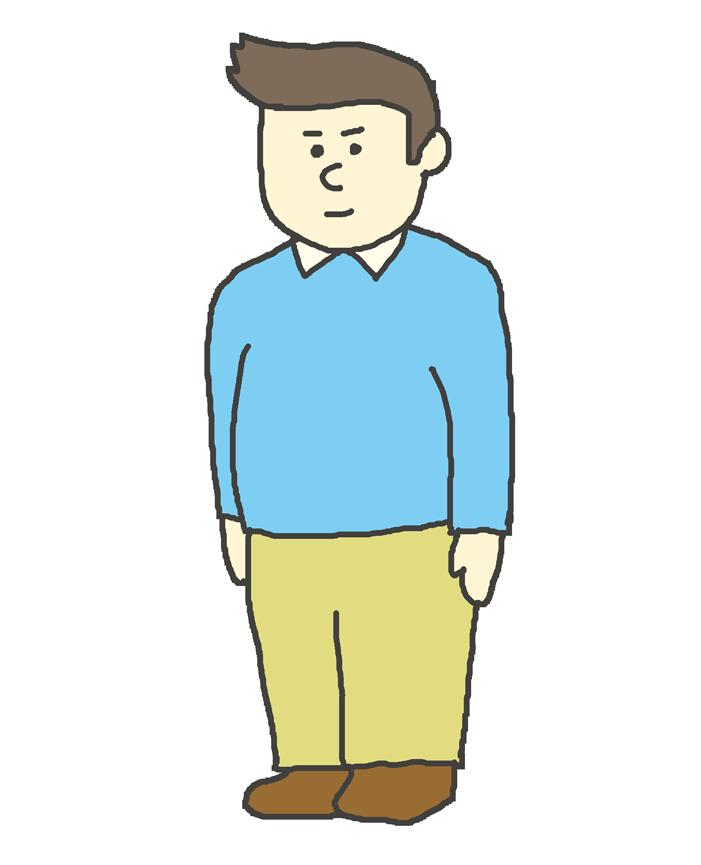 若い男性のイラスト(立ち姿)