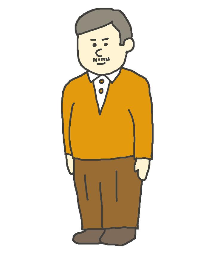 中年男性のイラスト(立ち姿)