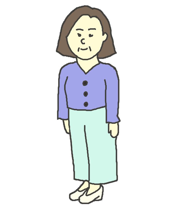 中年女性のイラスト(立ち姿)