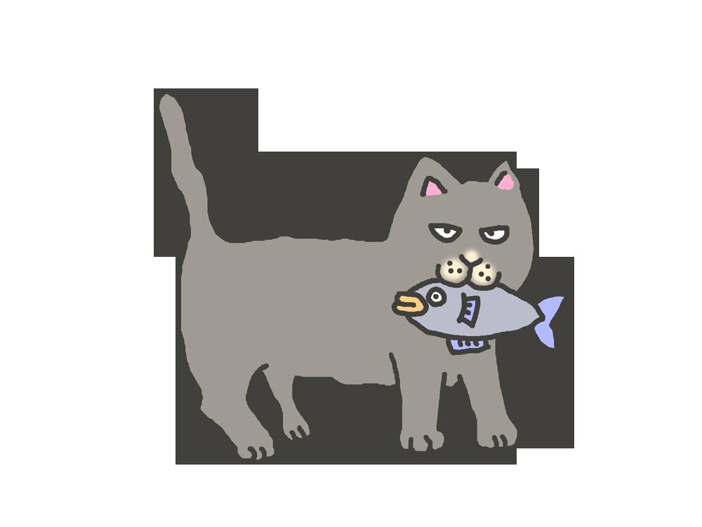 魚をくわえたグレーの猫のイラスト
