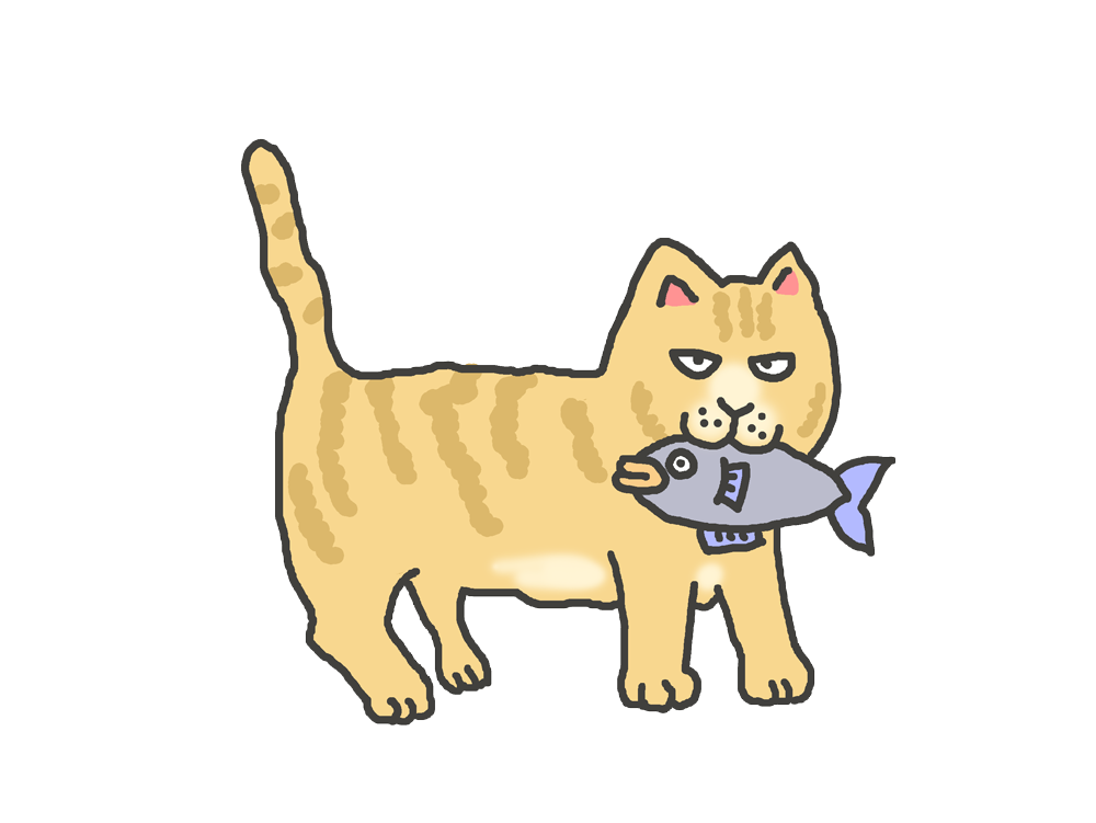 魚をくわえた茶トラのイラスト