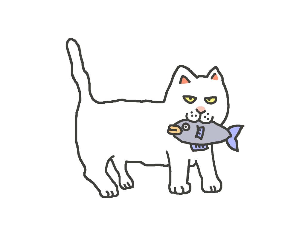 魚をくわえた白猫のイラスト