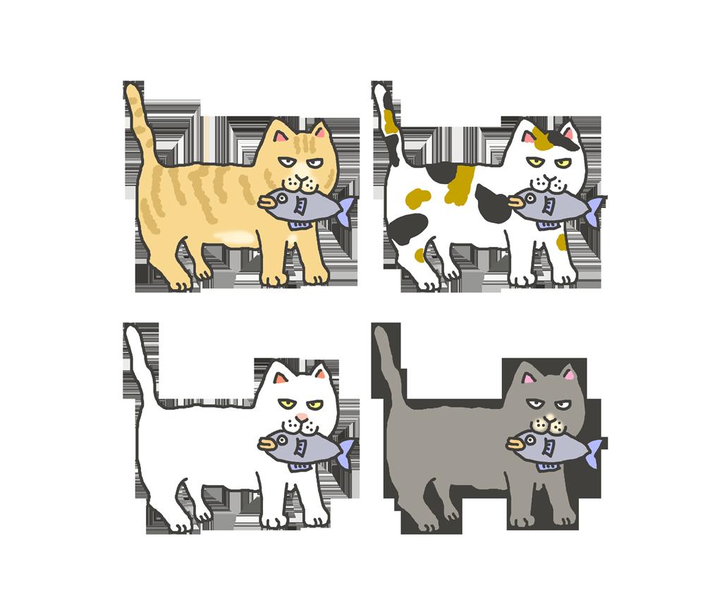 色々な色の魚をくわえた猫のイラスト