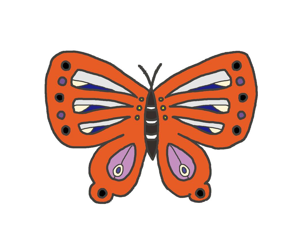 オレンジ色の蝶のイラスト