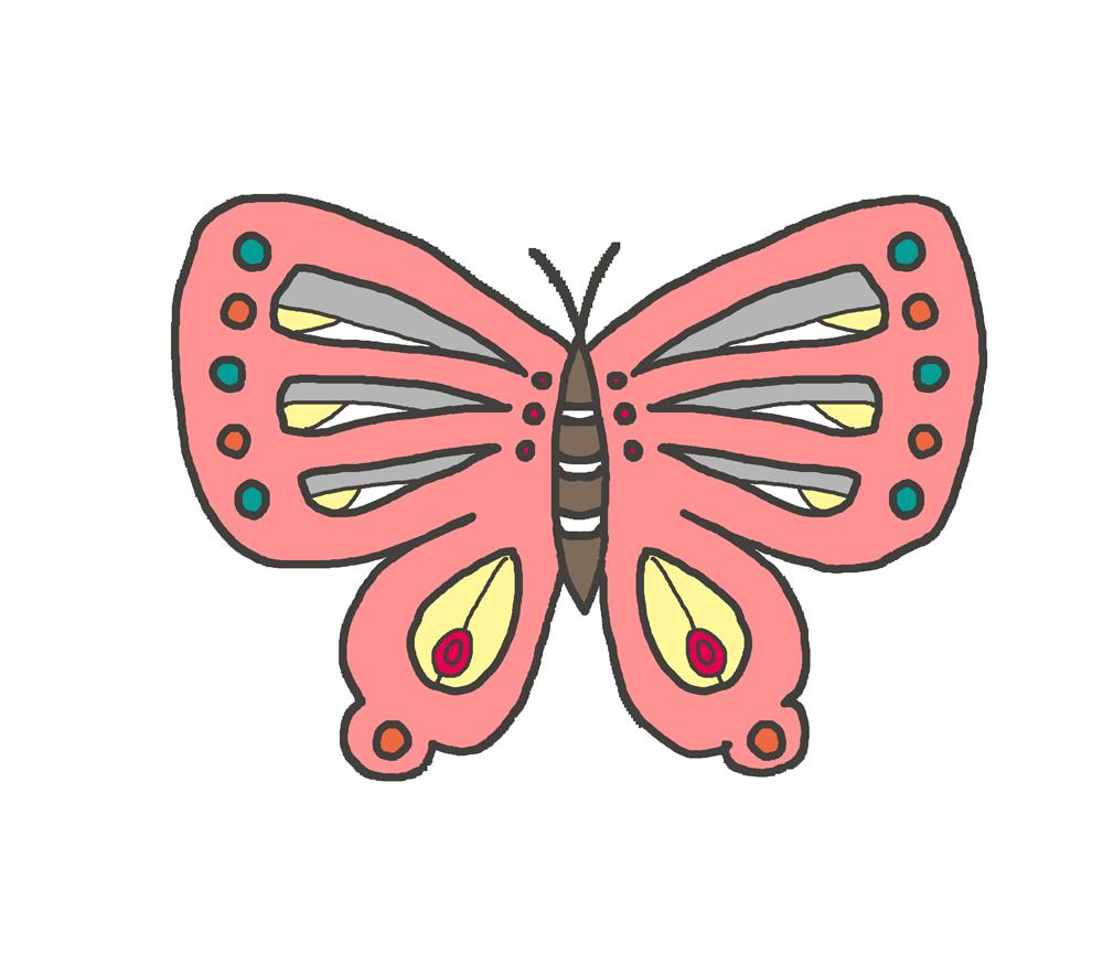 ピンク色の蝶のイラスト