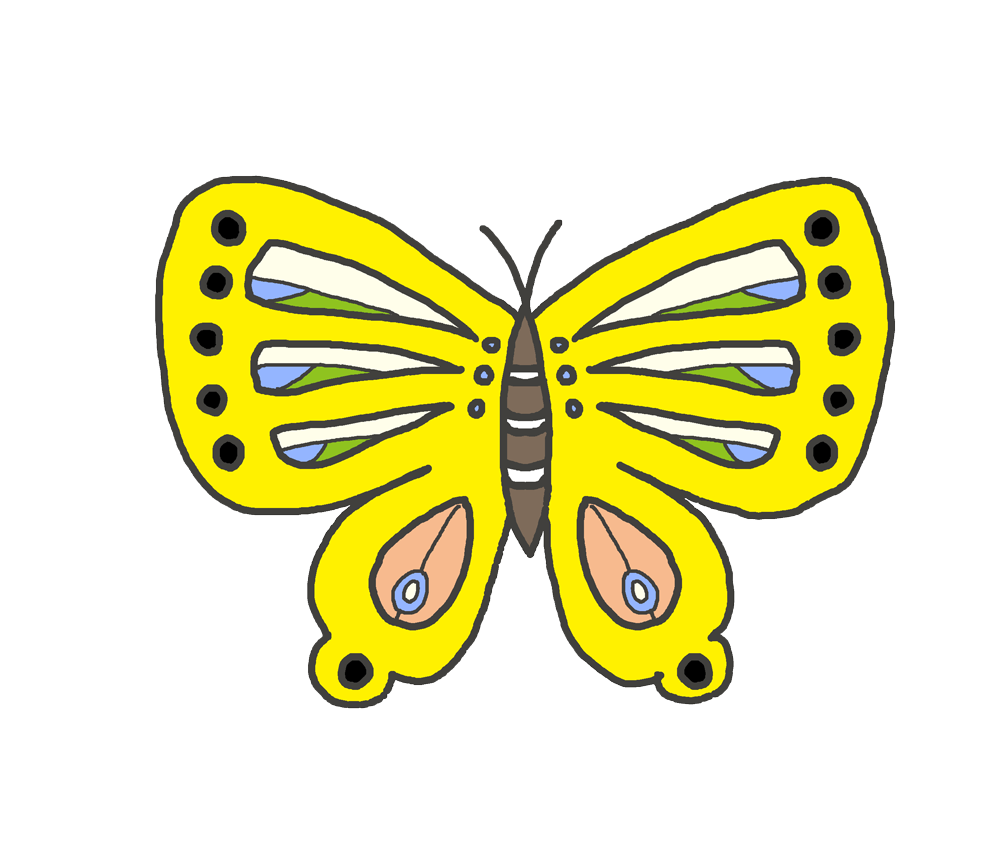 黄色い蝶のイラスト