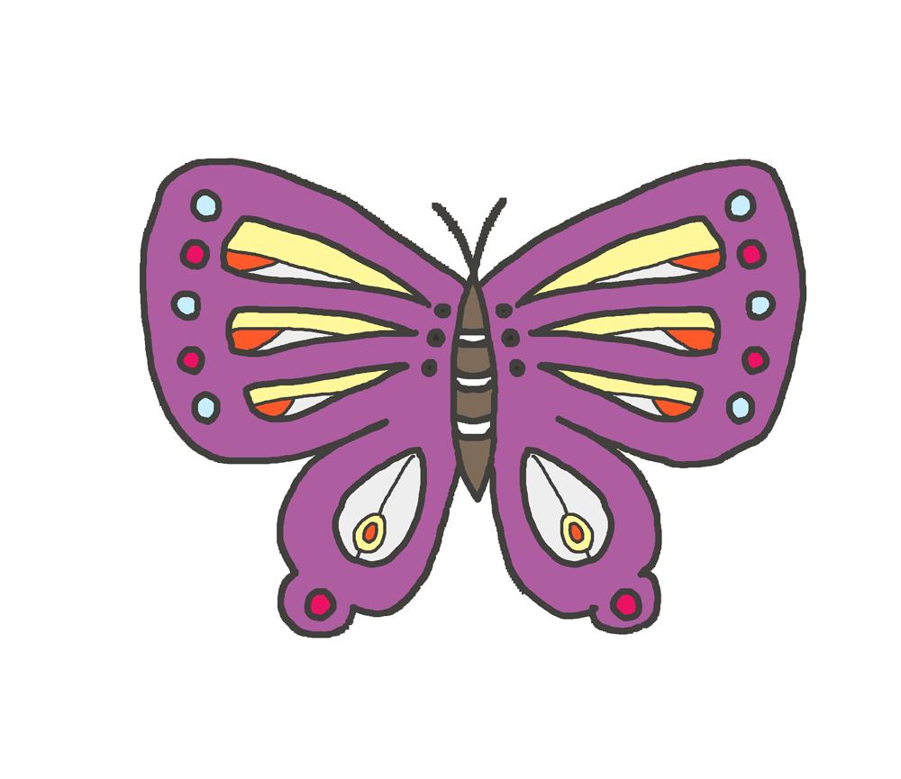 紫色の蝶のイラスト