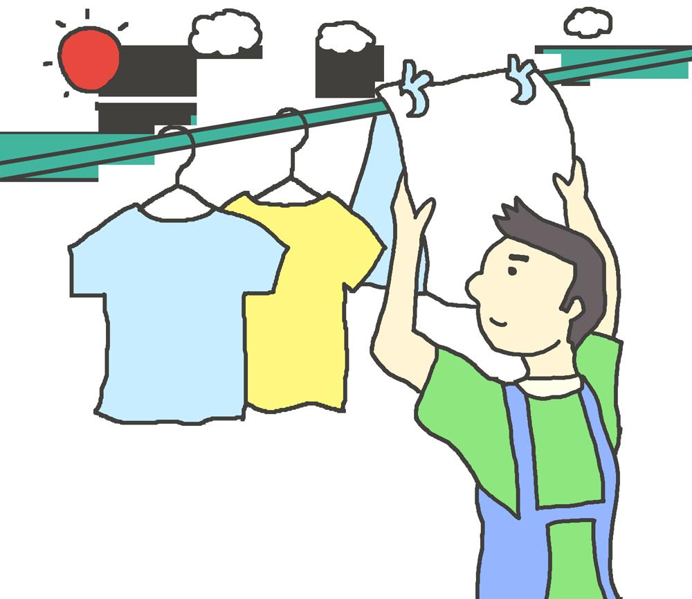 晴れた日に洗濯物を干す男性のイラスト