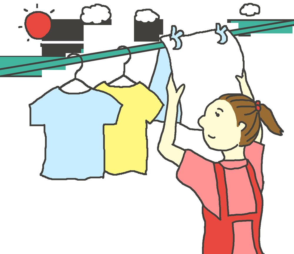 晴れた日に洗濯物を干す女性のイラスト
