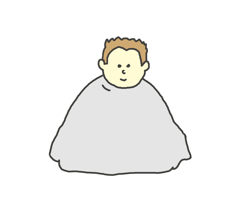 美容室で髪を切られている子供(男の子)のイラスト