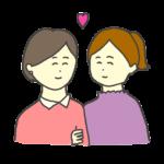 腕を組む同性カップルのイラスト(女性)