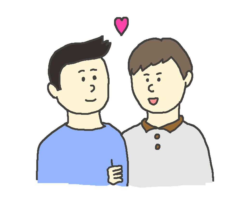 腕を組む同性カップルのイラスト(男性)