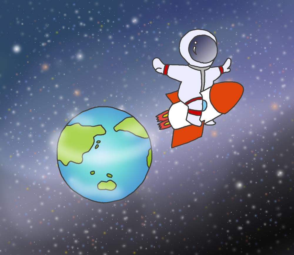 地球からロケットに乗って飛び立つ宇宙飛行士のイラスト