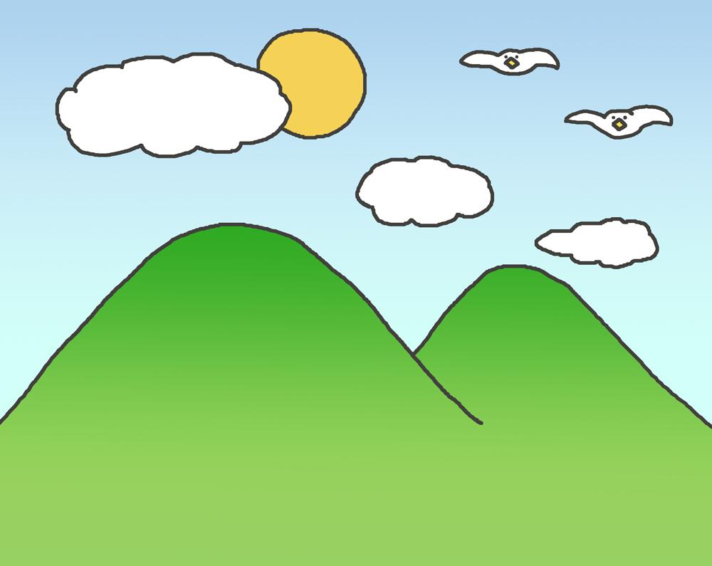 山の景色のイラスト
